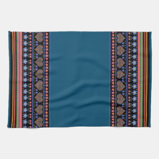Folk Art Style Border Kitchen Towel or Tea Towel