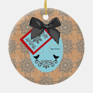Folk Art Style Christmas Bauble And Bow Round Ceramic Ornament