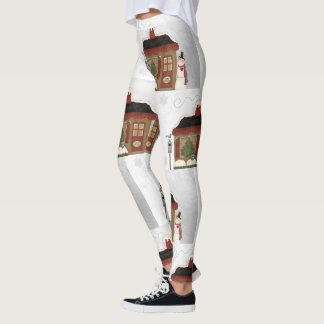 Folk Art Style Happy Holidays Leggings