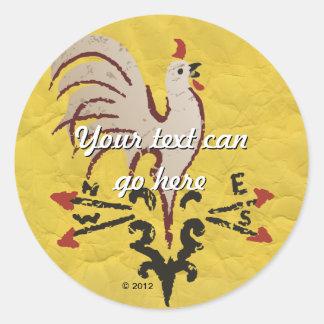 Folk Art Style Rooster Round Sticker