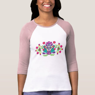Folk Art Sugar Skull  3/4 Raglan T-shirt