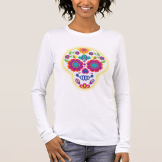 Folk Art Sugar Skull Long Sleeve T-Shirt