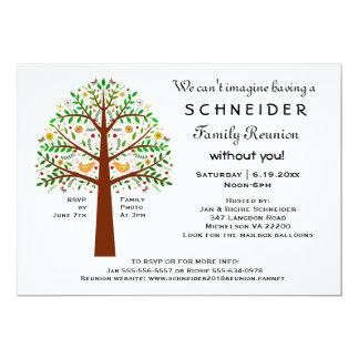 "Folk Art Tree Family Reunion, Party or Event 5"" X 7"" Invitation Card"