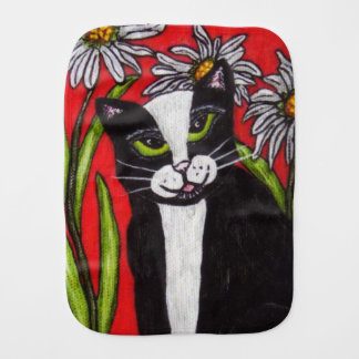 Folk Art Tuxedo Cat Daisies Burp Cloth
