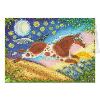 Folk Art WILD MUSTANG HORSE NOTE CARD Blank