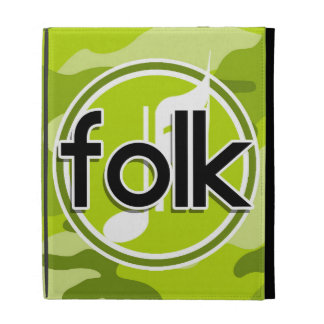 Folk bright green camo camouflage iPad folio cover