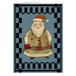 Folk Christmas Santa Check Pattern Personalize Card