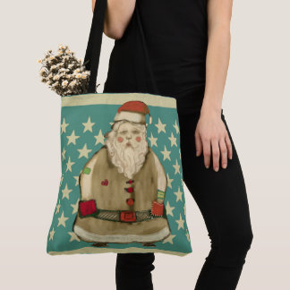 Folk Country Christmas Santa Star Pattern Holiday Tote Bag