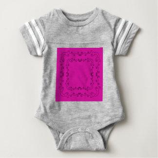 Folk elements pink with black baby bodysuit