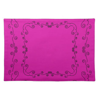 Folk elements pink with black placemat