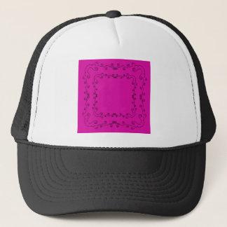 Folk elements pink with black trucker hat