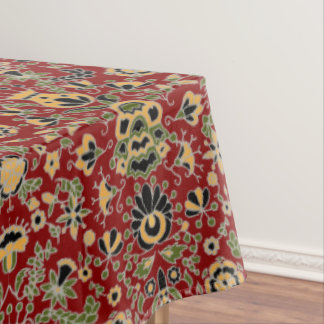 Folk Embroidery Yellow, Green, Black on Deep Red Tablecloth