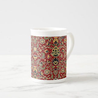 Folk Embroidery Yellow, Green, Black on Deep Red Tea Cup