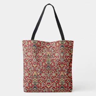 Folk Embroidery Yellow, Green, Black on Deep Red Tote Bag