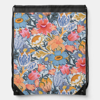 Folk Floral Garden Drawstring Bag