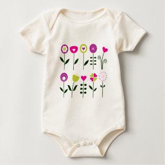 Folk flowers / magical pink black on white baby bodysuit