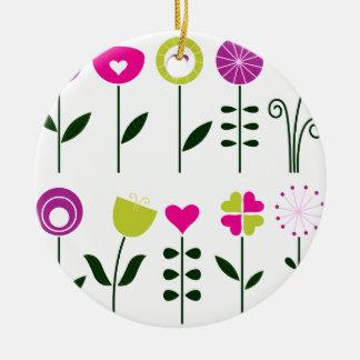 Folk flowers / magical pink black on white ceramic ornament