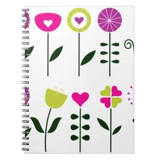 Folk flowers / magical pink black on white notebooks