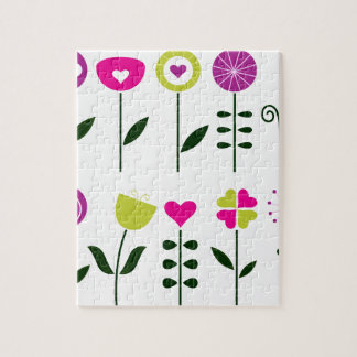 Folk flowers / magical pink black on white puzzle