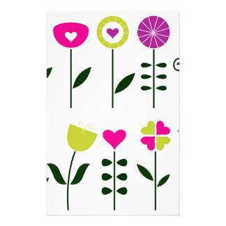 Folk flowers / magical pink black on white stationery