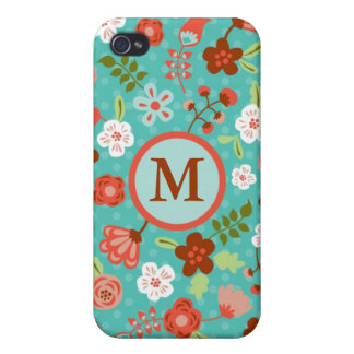Folk Flowers Monogram Case Covers For iPhone 4