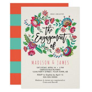 Folk Flowers   Stripe   Engagement   Invitation