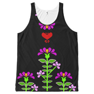 Folk Flowery Embroidery Style Floral Print Graphic