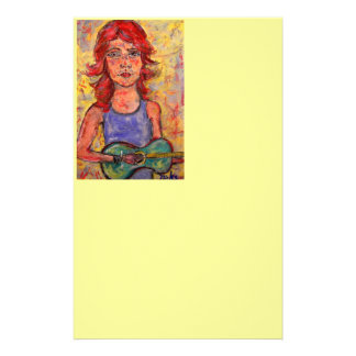folk girl with colourful guitar stationery