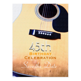Folk Guitar 45th Birthday Save the Date Postcard