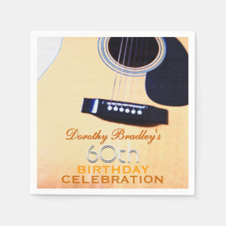 Folk Guitar 60th Birthday Celebration Paper Napkin