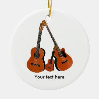 Folk Guitar Acoustic Bass and Ukulele Round Ceramic Ornament