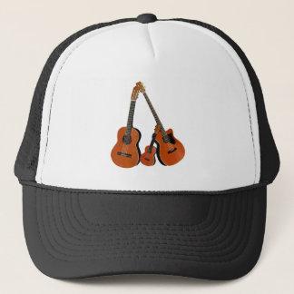 Folk Guitar Acoustic Bass and Ukulele Trucker Hat