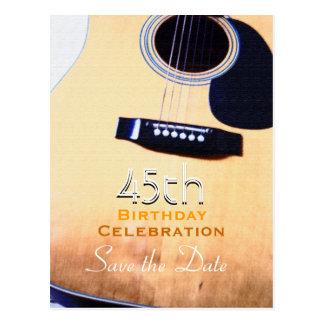Folk Guitar Custom Save the Date 45th Birthday Postcard