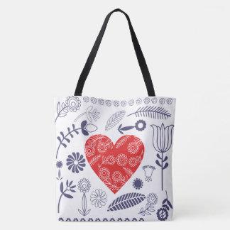 folk heart tote bag