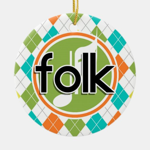 Folk Music; Colorful Argyle Pattern Christmas Ornaments