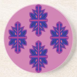 Folk ornaments purple coaster