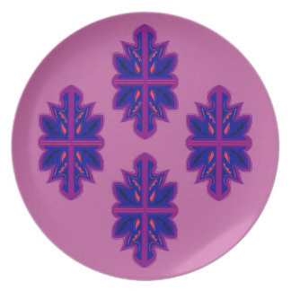 Folk ornaments purple plate