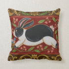 Folk Rabbit Throw Pillow