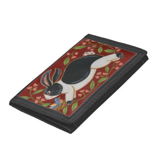 Folk Rabbit Tri-fold Wallet