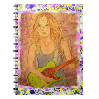 folk rock girl drip painting spiral notebook
