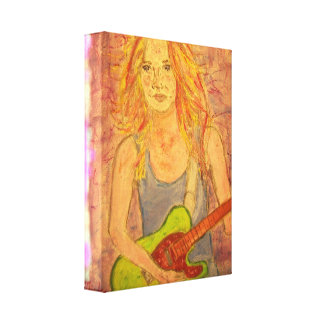 folk rock girl playin electric gallery wrapped canvas