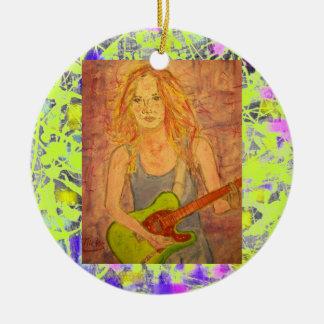 folk rock girl playin' electric drip round ceramic ornament