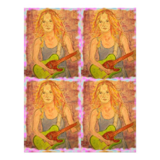 folk rock girl playin' electric letterhead