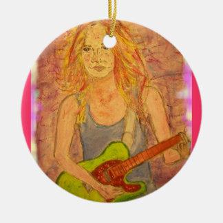 folk rock girl playin' electric up close round ceramic ornament