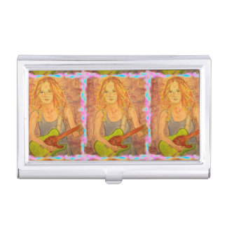 folk rock girl playing electric case for business cards