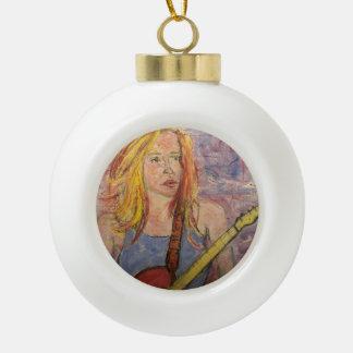 folk rock girl reflections ceramic ball ornament