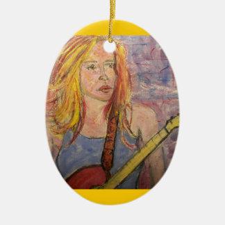 folk rock girl reflections ceramic oval ornament