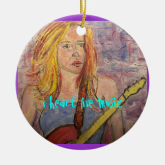 folk rock girl reflections  Live Music Round Ceramic Ornament