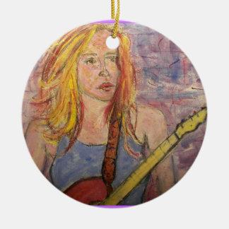 folk rock girl reflections ornament