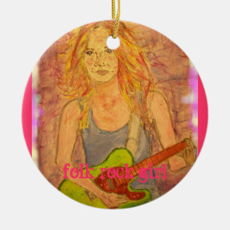 folk rock girl round ceramic ornament
